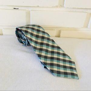Chaps Blue Black plaid checkered Silk Tie Pattern